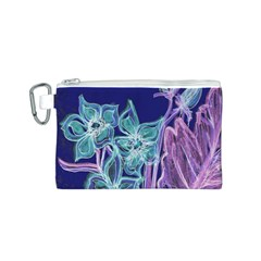 Purple, Pink Aqua Flower style Canvas Cosmetic Bag (S)