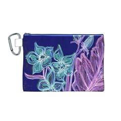 Purple, Pink Aqua Flower Style Canvas Cosmetic Bag (m)