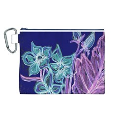 Purple, Pink Aqua Flower style Canvas Cosmetic Bag (L)