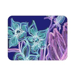 Purple, Pink Aqua Flower Style Double Sided Flano Blanket (mini)