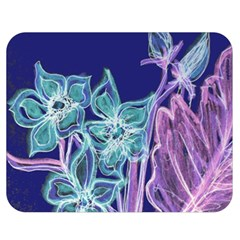 Purple, Pink Aqua Flower Style Double Sided Flano Blanket (medium)
