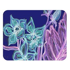 Purple, Pink Aqua Flower style Double Sided Flano Blanket (Large)
