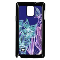 Purple, Pink Aqua Flower style Samsung Galaxy Note 4 Case (Black)