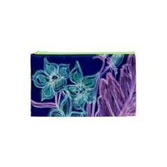 Purple, Pink Aqua Flower style Cosmetic Bag (XS)