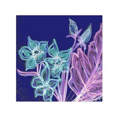 Purple, Pink Aqua Flower style Small Satin Scarf (Square)