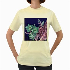 Purple, Pink Aqua Flower style Women s Yellow T-Shirt