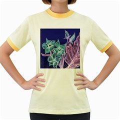 Purple, Pink Aqua Flower style Women s Fitted Ringer T-Shirts