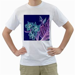 Purple, Pink Aqua Flower style Men s T-Shirt (White) (Two Sided)
