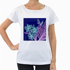 Purple, Pink Aqua Flower style Women s Loose-Fit T-Shirt (White)