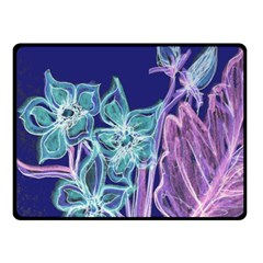 Purple, Pink Aqua Flower Style Double Sided Fleece Blanket (small)
