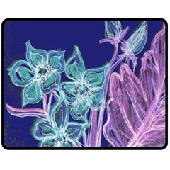 Purple, Pink Aqua Flower style Double Sided Fleece Blanket (Medium)