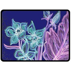 Purple, Pink Aqua Flower Style Double Sided Fleece Blanket (large)
