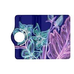 Purple, Pink Aqua Flower style Kindle Fire HD (2013) Flip 360 Case