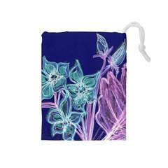 Purple, Pink Aqua Flower Style Drawstring Pouches (medium)