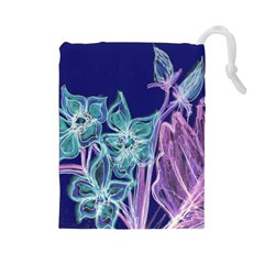 Purple, Pink Aqua Flower style Drawstring Pouches (Large)