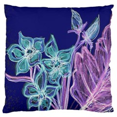 Purple, Pink Aqua Flower style Large Flano Cushion Cases (Two Sides)