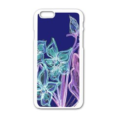 Purple, Pink Aqua Flower style Apple iPhone 6 White Enamel Case