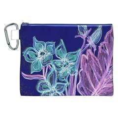 Purple, Pink Aqua Flower Style Canvas Cosmetic Bag (xxl)