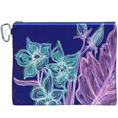 Purple, Pink Aqua Flower style Canvas Cosmetic Bag (XXXL)