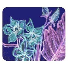 Purple, Pink Aqua Flower style Double Sided Flano Blanket (Small)