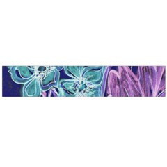 Purple, Pink Aqua Flower Style Flano Scarf (large)