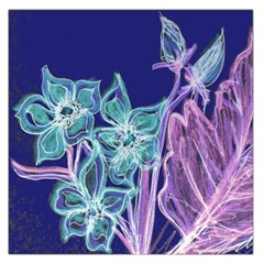 Purple, Pink Aqua Flower style Large Satin Scarf (Square)