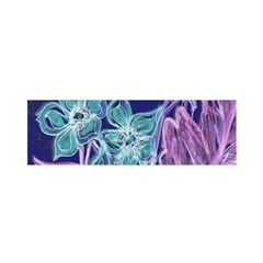 Purple, Pink Aqua Flower Style Satin Scarf (oblong)