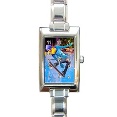 Skateboarding On Water Rectangle Italian Charm Watches
