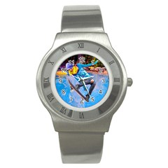 Skateboarding On Water Stainless Steel Watches