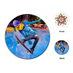 Skateboarding on Water Playing Cards (Round)