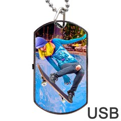 Skateboarding on Water Dog Tag USB Flash (One Side)