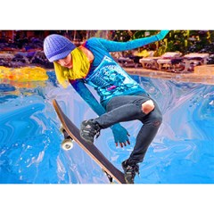 Skateboarding on Water Birthday Cake 3D Greeting Card (7x5)