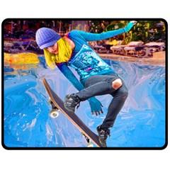 Skateboarding on Water Double Sided Fleece Blanket (Medium)