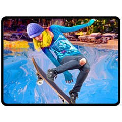 Skateboarding On Water Double Sided Fleece Blanket (large)