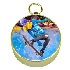 Skateboarding On Water Gold Compasses