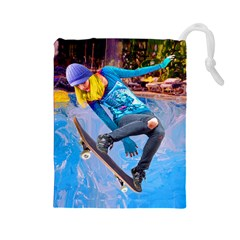 Skateboarding On Water Drawstring Pouches (large)
