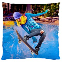 Skateboarding on Water Large Flano Cushion Cases (One Side)