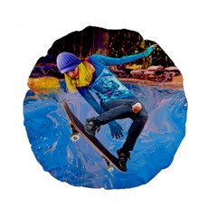 Skateboarding on Water Standard 15  Premium Flano Round Cushions
