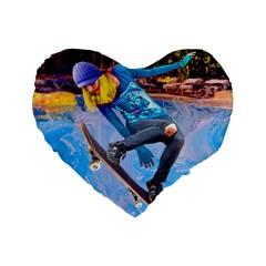 Skateboarding on Water Standard 16  Premium Flano Heart Shape Cushions