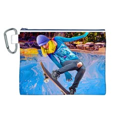 Skateboarding on Water Canvas Cosmetic Bag (L)