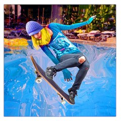 Skateboarding on Water Large Satin Scarf (Square)