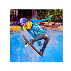 Skateboarding on Water Small Satin Scarf (Square)