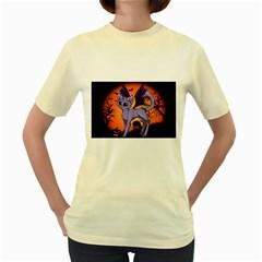 Seruki Vampire Kitty Cat Women s Yellow T-Shirt