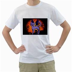 Seruki Vampire Kitty Cat Men s T-Shirt (White) (Two Sided)