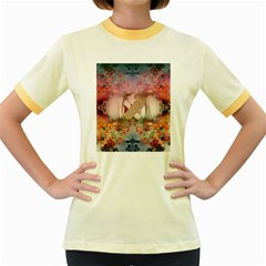 Nature And Human Forces Cowcow Women s Fitted Ringer T-Shirts