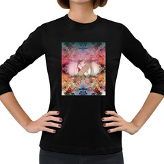 Nature And Human Forces Cowcow Women s Long Sleeve Dark T Shirts