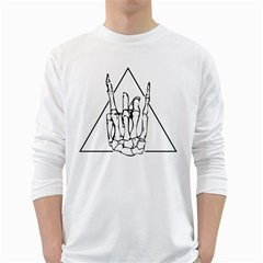 Skull Rock White Long Sleeve T-Shirts