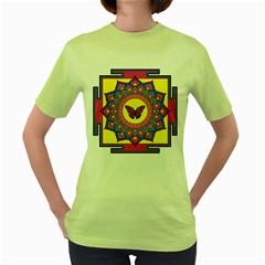 Butterfly Mandala Women s Green T-Shirt