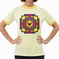 Butterfly Mandala Women s Fitted Ringer T-Shirts