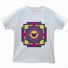 Butterfly Mandala Kids White T-Shirts